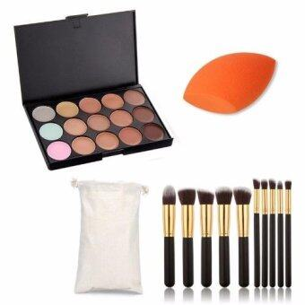 Sinma Professional 15 Colour Make Up Concealer Palette +10 Make Up Brushes + Sponge Beauty Cosmetics Value Pack