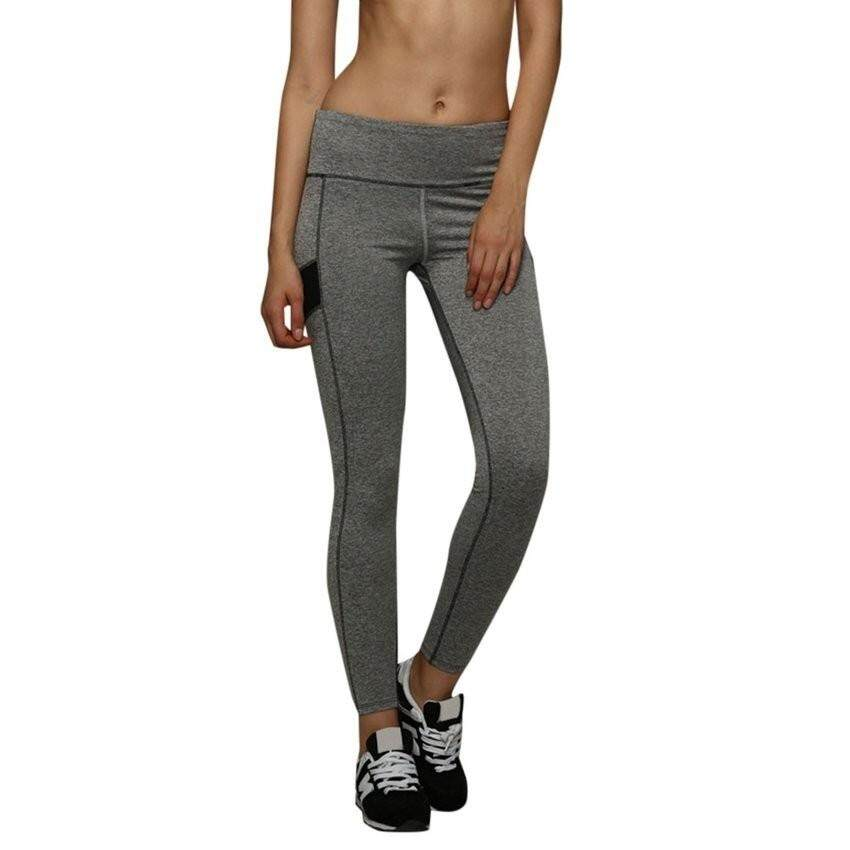 121-ZH-2018 Comfortable Women Pants Trousers Patch Yoga FitnessLeggingsgray Size:M Gray   - intl