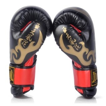 Adult Boxing Gloves PU Leather Muay Thai Sandbag Training Kickboxing Sparring Hand Protector Gloves(Black)