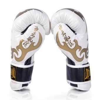 Adult Boxing Gloves PU Leather Muay Thai Sandbag Training Kickboxing Sparring Hand Protector Gloves(White)