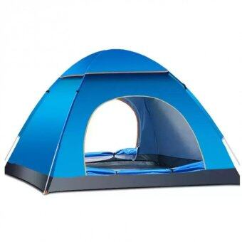 (Automatic Open)3-4 People Outdoor Camping Tent Package Portable Travel Tent FREE Carry Backpack (Blue)