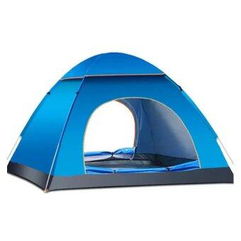 (Automatic Open)3-4 People Outdoor Camping Tent Package PortableTravel Tent FREE Carry Backpack (Blue)