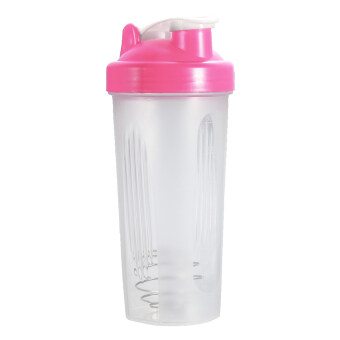 BPAfree Shake Protein Blender Shaker Mixer Cup Drink Whisk Bottle Pink 600ml