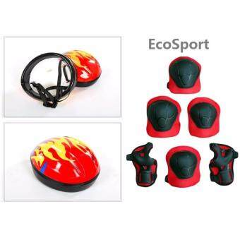 Combo Set EcoSport Ultralight Kids Helmet + Children Skating Sports Wrist Elbow Knee Pad Guard