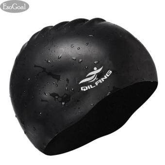 EsoGoal Swim Cap Long Hair Swimming Cap Waterproof Silicone Hat for Adult Woman and Men (Black)