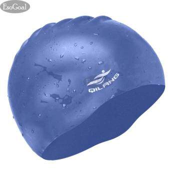 EsoGoal Swim Cap, Long Hair Swimming Cap Waterproof Silicone Hat for Adult Woman and Men (Dark Blue)