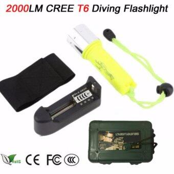 FFY 2000LM T6 LED Diving Flashlight Torch Portable Underwater 50MScuba Waterproof Flashlights Torch Light Lamp +Charger+box (yellow)