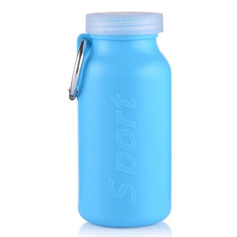 Folding water bottle silicone sports silicon portable 4 colors 660ML food grade Space Volume keyring (blue)