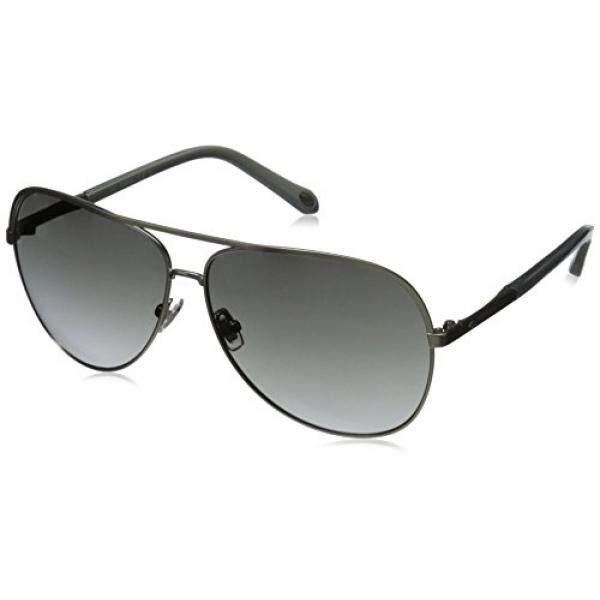 Fossil Fos3054s Aviator Sunglasses, Semi Matte Silver/Gray Gradient, 63 mm