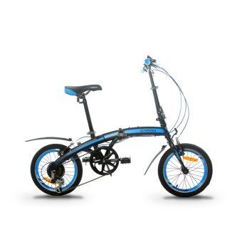 GARION G1614-BC 16 Inch Folding Bike Foldable Bicycle with Shimano6 Speed (Matte Black with Blue)