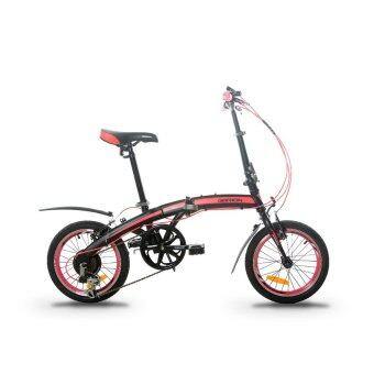 GARION G1614-BC 16 Inch Folding Bike Foldable Bicycle with Shimano6 Speed (Matte Black with Pink)