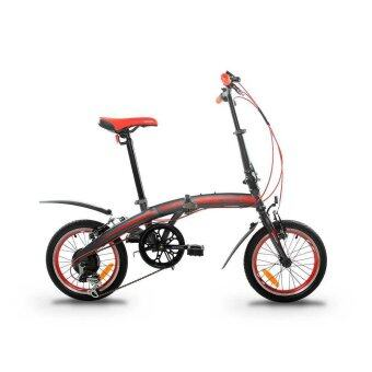 GARION G1614-BC 16 Inch Folding Bike Foldable Bicycle with Shimano6 Speed (Matte Grey with Red)