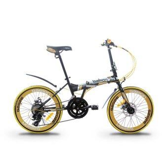 GARION G2026-BC 20 Inch Foldable Folding Bike with Shimano Tourney16 Speed (Matte Black with Gold)