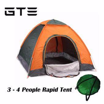 GTE Quick Automatic Opening Ultralight Tents Outdoor 3-4 Person Waterproof Tourist Camping Tent - Orange