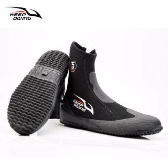 KEEP DIVING 5MM Neoprene Scuba Diving Boots Water ShoesVulcanization Winter Cold Proof High Upper Warm Fins Flipper AntiSkid