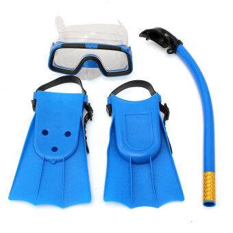 Kids Diving Mask Snorkel& Glasses&Fins Set Silicone Swimming Pool Equipment Gift Blue