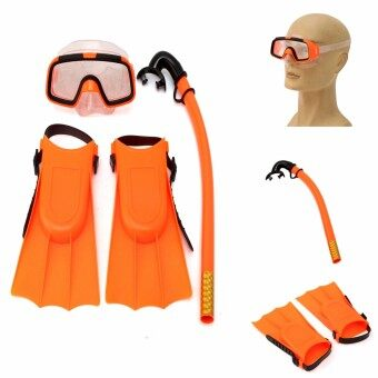 Kids Diving Mask Snorkel& Glasses&Fins Set SiliconeSwimming Pool Equipment Gift Red