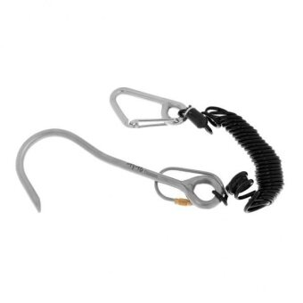 MagiDeal Scuba Diving Titanium Alloy Reef Hook with Spiral Coil Lanyard Black