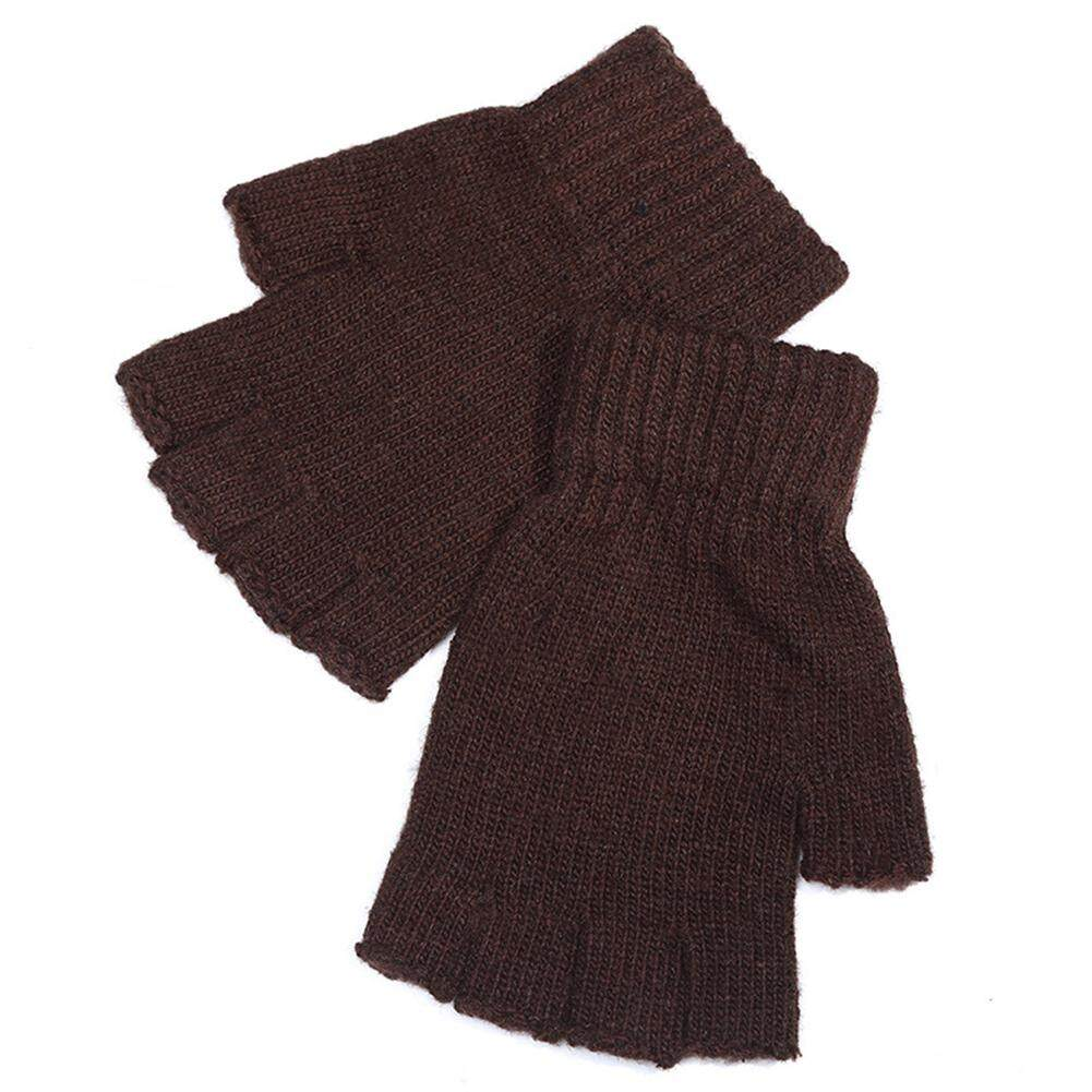 DL Men Knitted Wool Outdoor/Indoor Warm Fingerless Half Finger Mittens Riding Gloves Color:Coffee color Size:Free size - intl