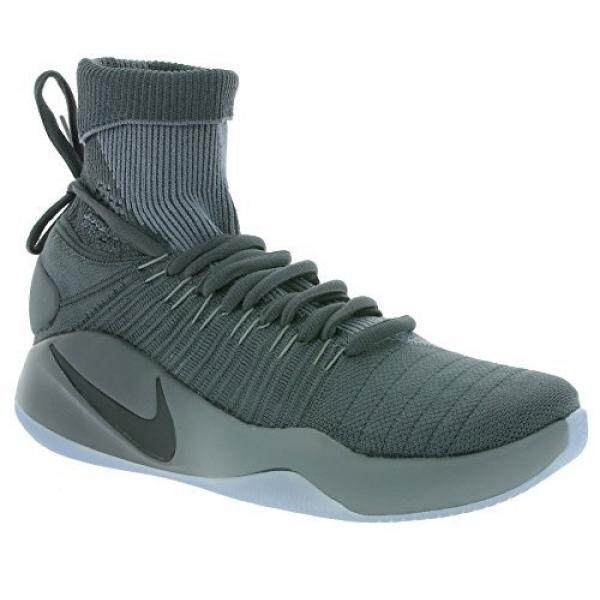 Nike Mens Hyperdunk 2016 Flyknit, DARK GREY/MTLC PLATINUM-COOL GREY, 11