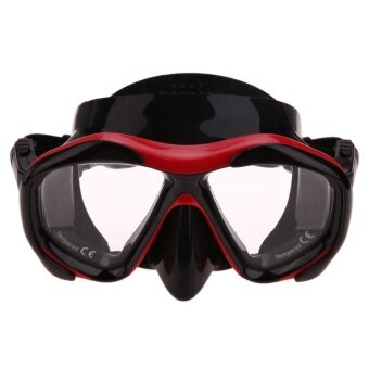 Pro Diving Equipment Underwater Mask Snorkel Glasses with LensSet(Red)