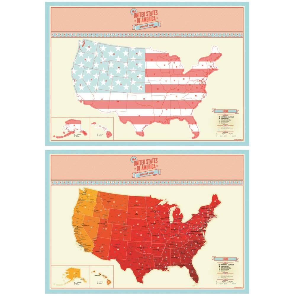 Scratch Off Map Personalized USA United States US Map Poster - Scratch us map