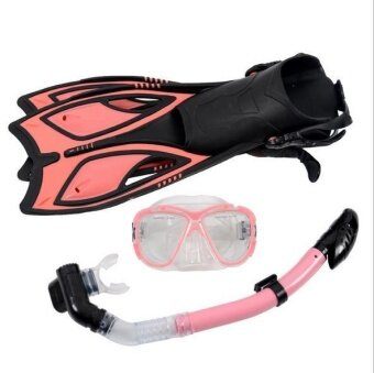 Scuba Diving Equipment Sets Underwater Diving Mask Full DrySnorkeling Gel Myopia Diving glasses Diving Mask+Snorkel+Fins(SIZE: S)