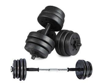 Top Grade Bumper Plate Rubber Dumbbell 25kg /pair with 30cm Barbell Converter