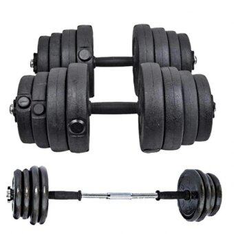 Top Grade Bumper Plate Rubber Dumbbell 30kg /pair Barbell + 10cmbarbell Converter