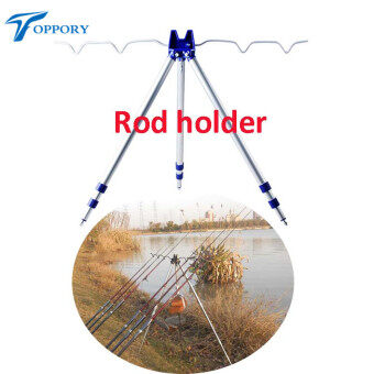 Toppory 3 Sections Telescopic Carp Fishing Rod Holder Aluminum RodStand Sea River Fishing Tripod Rod Carp Fishing Tackle Tools