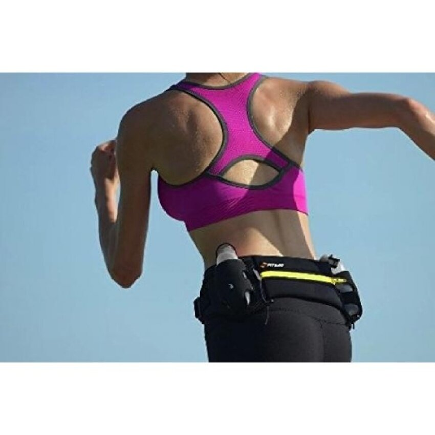 """Unisex Hydration Running Belt With 2 BPA 6oz Free Leak-Proof WaterBottles - 6.5"""" Water-Resistant Pouch Fits All Smartphones, Keys,Cards - - intl"""