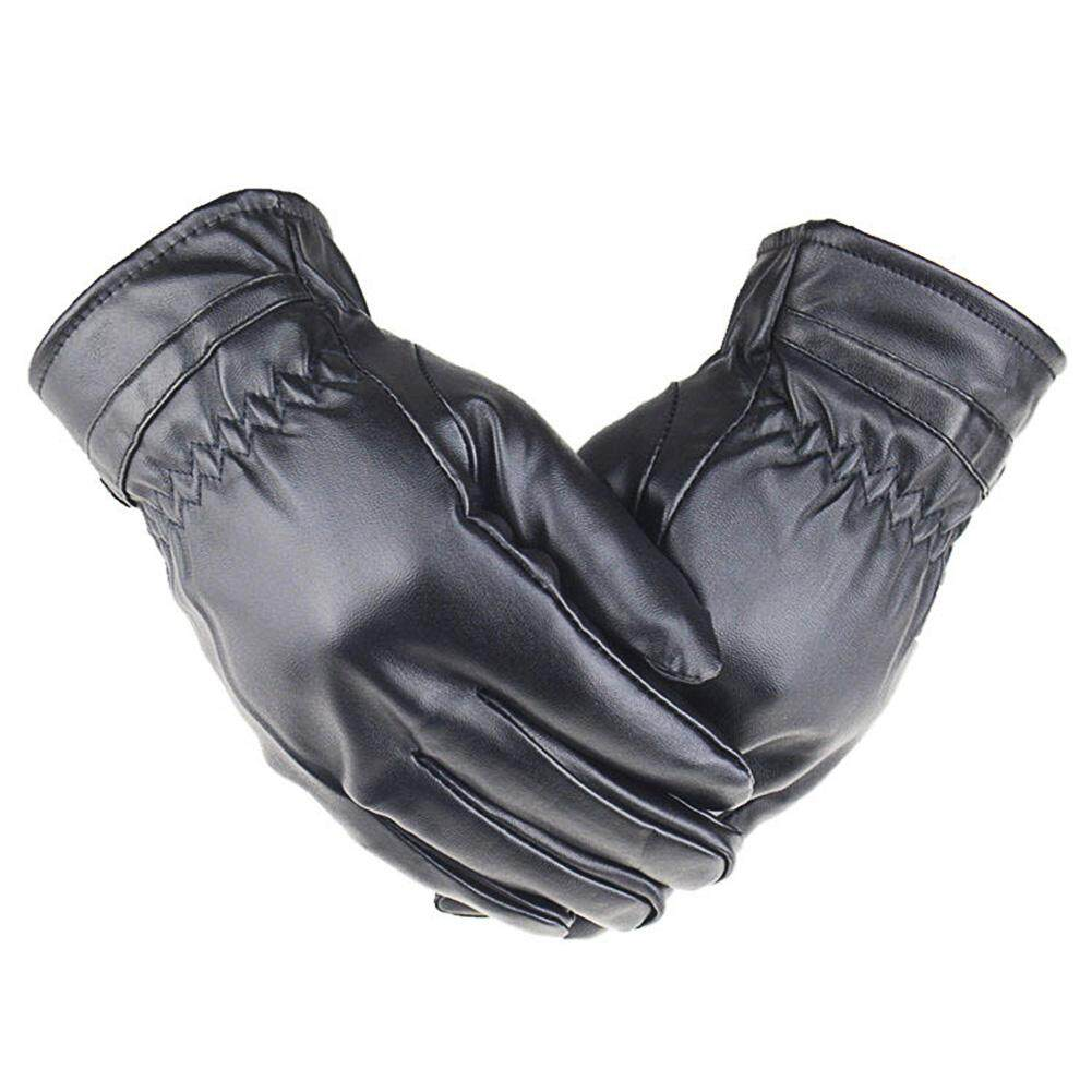 DL Unisex Winter Outdoor Windproof Anti-Slip Warm PU Leather Touch Creen Gloves for Riding Cycling Specification:Male - intl