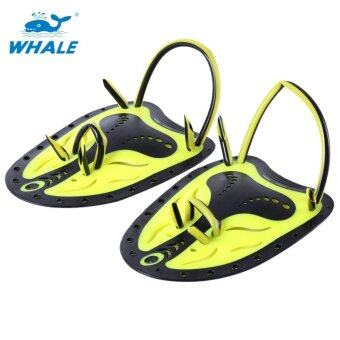 Whale Paired Unisex Swimming Adjustable Paddles Fins Webbed Training Pool Diving Neoprene Hand Gloves(Yellow S)