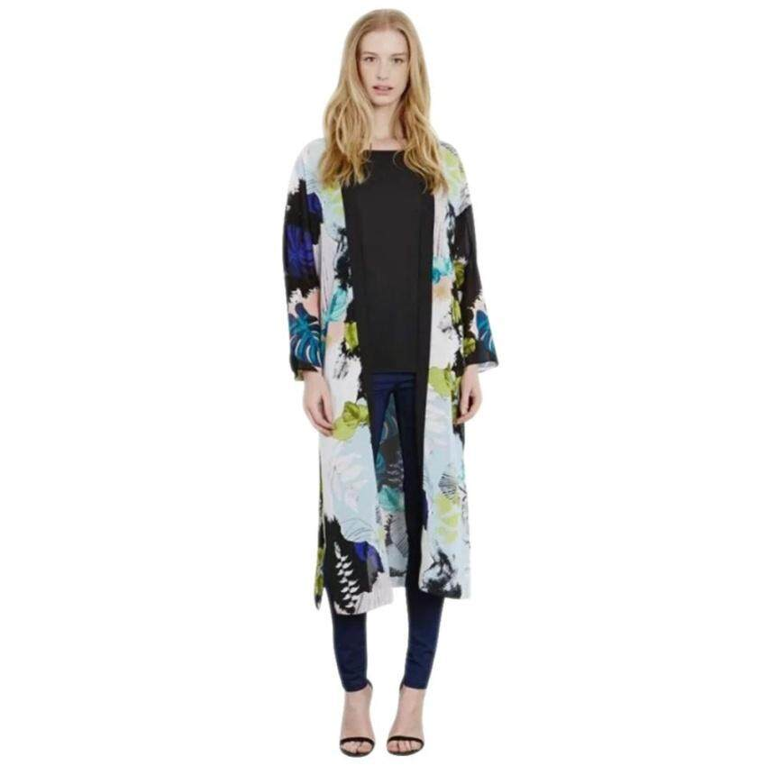 2016 New Floral Print Kimono Cardigan Long Beach TOP Cover Up Jaket M & Nbsp;-Intl