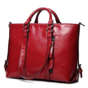 2017 Fashion PU Tote Women Leather Handbags Messenger Shoulder Bags (Red)