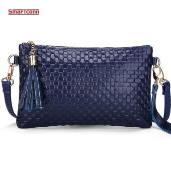 2017 Hot Women Genuine Cow Leather Bag Fashion Tassel Knitting Pattern Ladies Clutch Chain Shoulder Crossbody Messenger Bags(Blue)