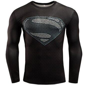 2017 New Sport Fitness Compression Shirt Men Superman Bodybuilding Long Sleeve 3D T Shirt Gym Crossfit Running Tops Shirts Superman BLK