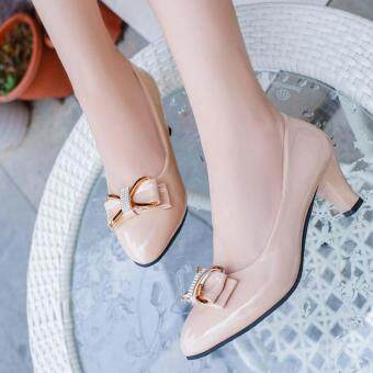 2017 New Women's Fashion Formal Pumps Block Heels High HeelsClassical Korean PU Leather Color Beige
