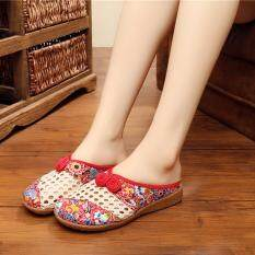 2017 Newest Flowered Embroidered Summer House Flat Casual Shoes Women S Tpr Mesh Slippers