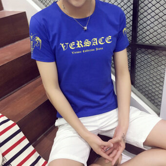 2017 summer new korean version of the short sleeve t-shirt malejapanese teenagers students on the influx of men's round necksleeve dress (T253-blue)