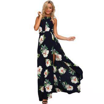 2017 Women Halter Neck Chiffon Dress Floral Print Sleeveless SplitBackless Long Dress Elegant Hollow Out Beach Maxi Boho Dress