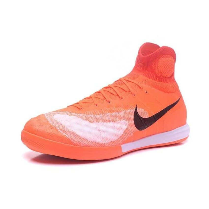 2018 High Top Men's Magista Proximo II IC Soccer Cleats 3D ACC Indoor Flat Football Boots Orange White - intl