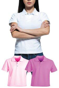 3 Pc Assorted Collar Shirt Ladies Plain White Soft Pink