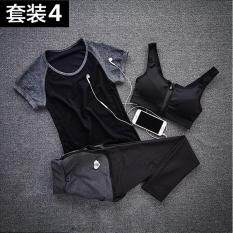 3 Pcs Yoga Set Wanita Cepat Kering Tanpa Lengan T-shirt + Zipper Pad Bra + Kota Dalam Satu Celana Breathable Running Set Mendengar Grey-Intl