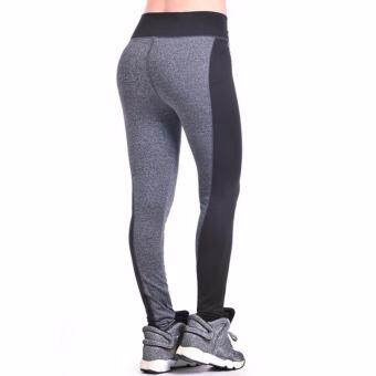 AB Quick Drying Fitness Trousers Outdoor Running Sports Pants HighElasticity Gym Leggings (Grey) - L
