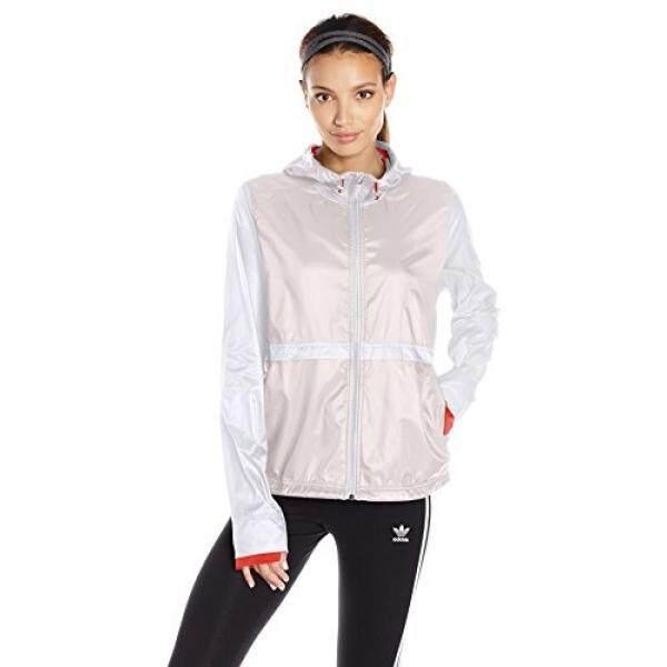 Adidas Wanita Atletik Tujuan Yang Jelas Jaket, Putih/Inti Merah Muda, X-kecil-Internasional