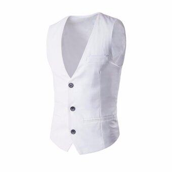 Amart Fashion Men Vest Formal Business Waistcoat Sleeveless Slim Fit Suit Coat