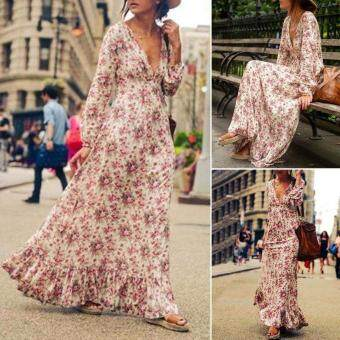 Amart Fashion Women Boho Floral Maxi Dress V-neck Long Sleeve Party Summer Beach Dresses Sundress