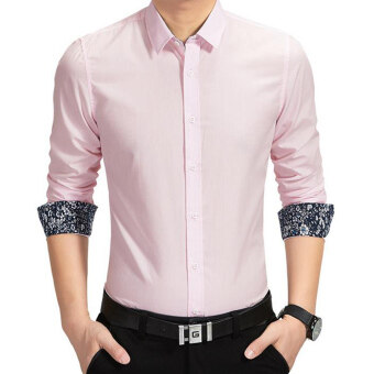 Amart Men Shirt Long Sleeve Shirt Cotton Tops Shirt(Pink)