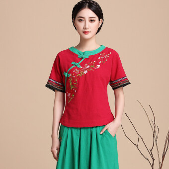 Aomasiting national style Chinese clothing improved slimming Top cotton linen shirt (Red)